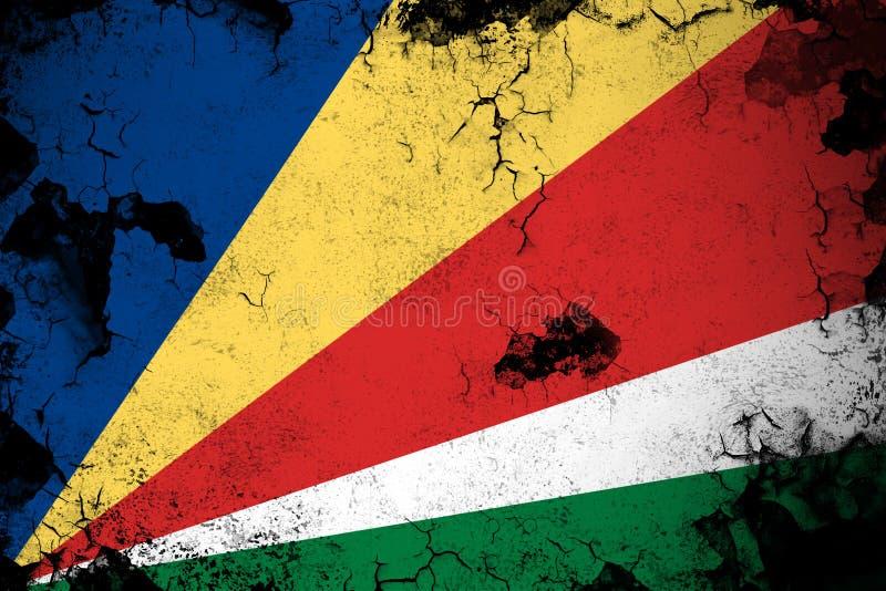 生锈的塞舌尔群岛和难看的东西旗子例证 皇族释放例证