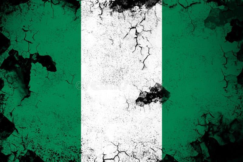 生锈的尼日利亚和难看的东西旗子例证 向量例证