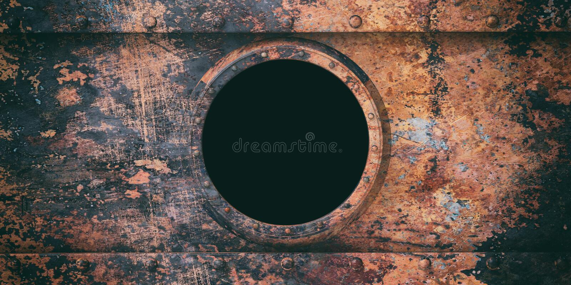 生锈的水下舷窗金属背景, 3d例证 向量例证