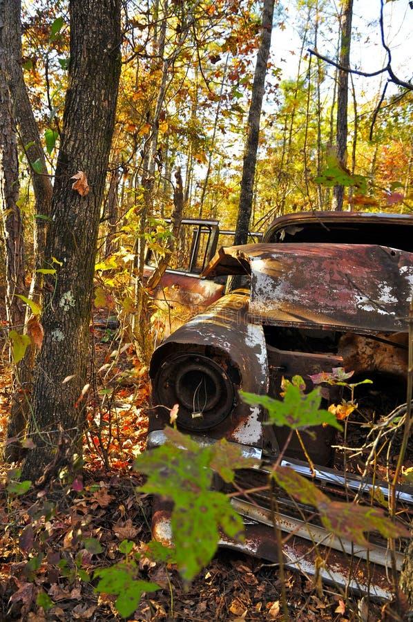 生锈的汽车在上帝峡谷 库存照片