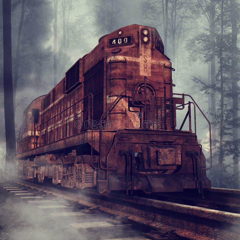 生锈的火车在森林里 向量例证