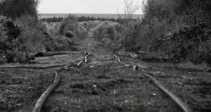 生锈的火车轨道 库存图片