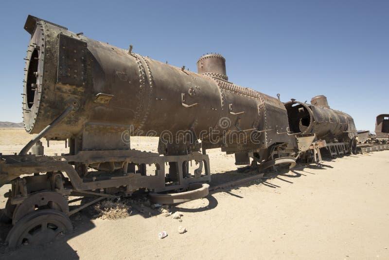 生锈的火车,火车公墓在Uyuni,玻利维亚 免版税库存照片