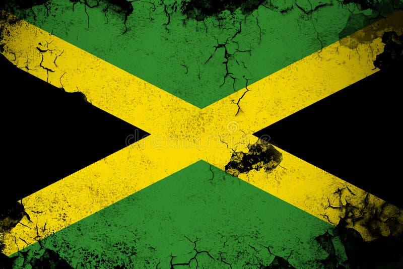 生锈的牙买加和难看的东西旗子例证 库存例证