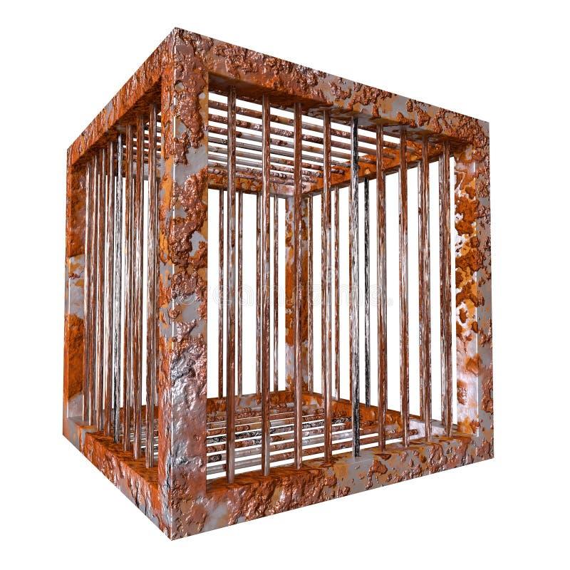 生锈的笼子生锈的立方体监狱 库存例证