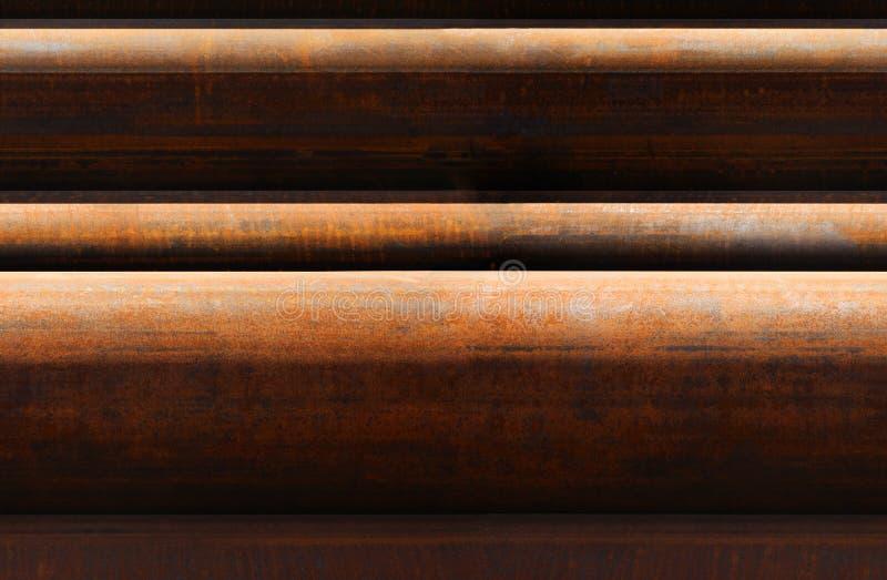 生锈的管子的水平的无缝的样式 库存图片