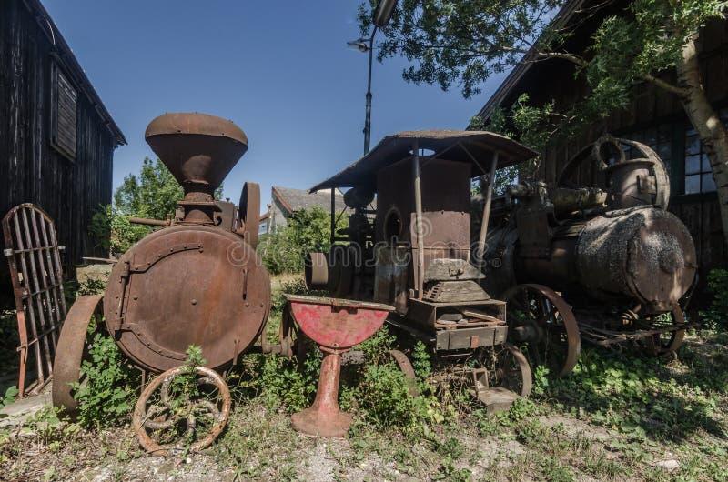 生锈的老蒸汽引擎 库存图片