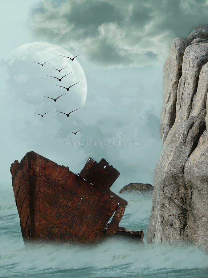 生锈的船 免版税库存图片