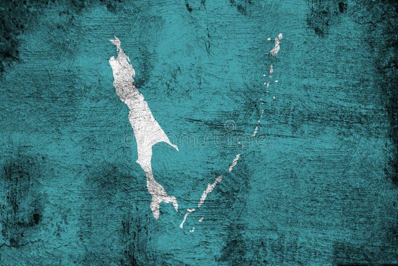 生锈的萨哈林岛和难看的东西旗子例证 向量例证