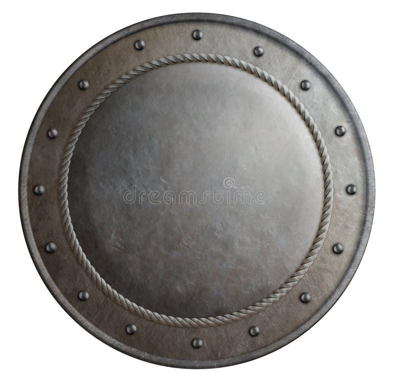 生锈的金属回合盾被隔绝的3d例证 免版税图库摄影
