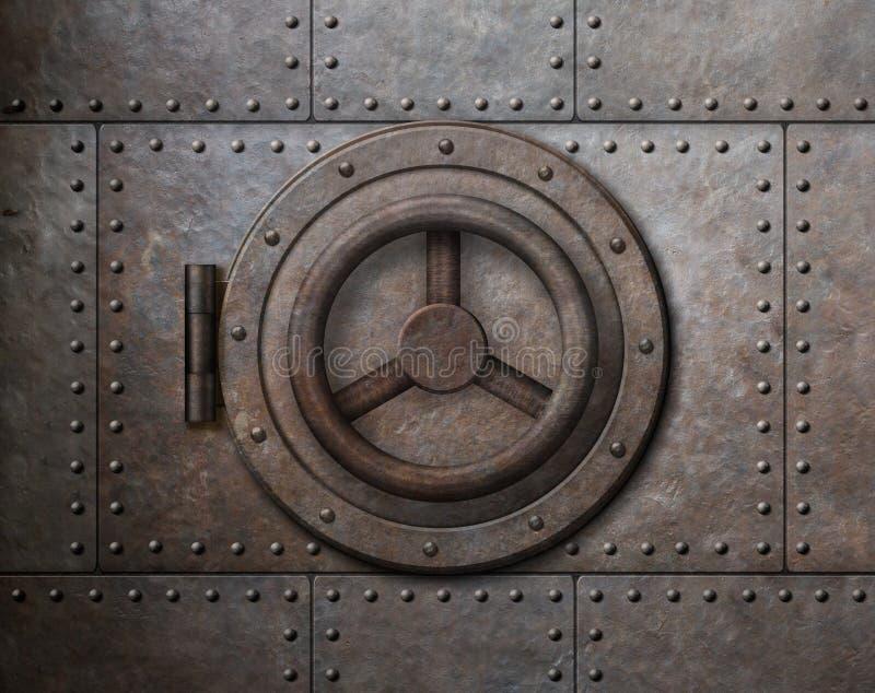 生锈的金属安全门3d例证 库存例证