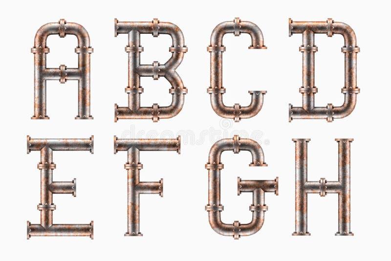 生锈的金属管子字母表 向量例证