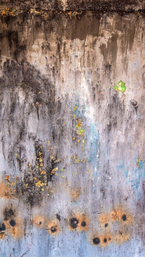 生锈的铁抽象难看的东西纹理与灰棕色、褐色和蓝色的 图库摄影
