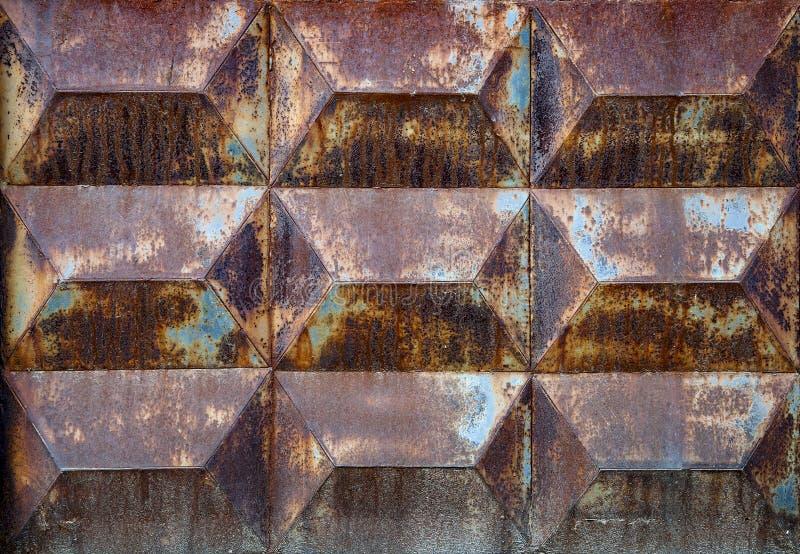 生锈的铁背景纹理  腐蚀金属 老镇压和抓痕 免版税图库摄影