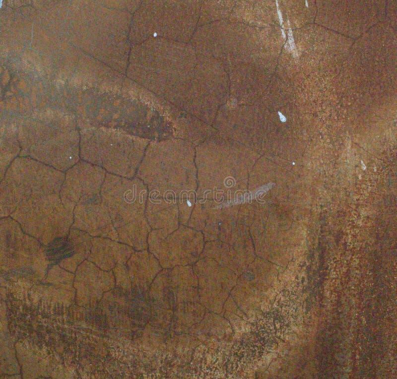 生锈的铁表面与老油漆残余的  库存图片
