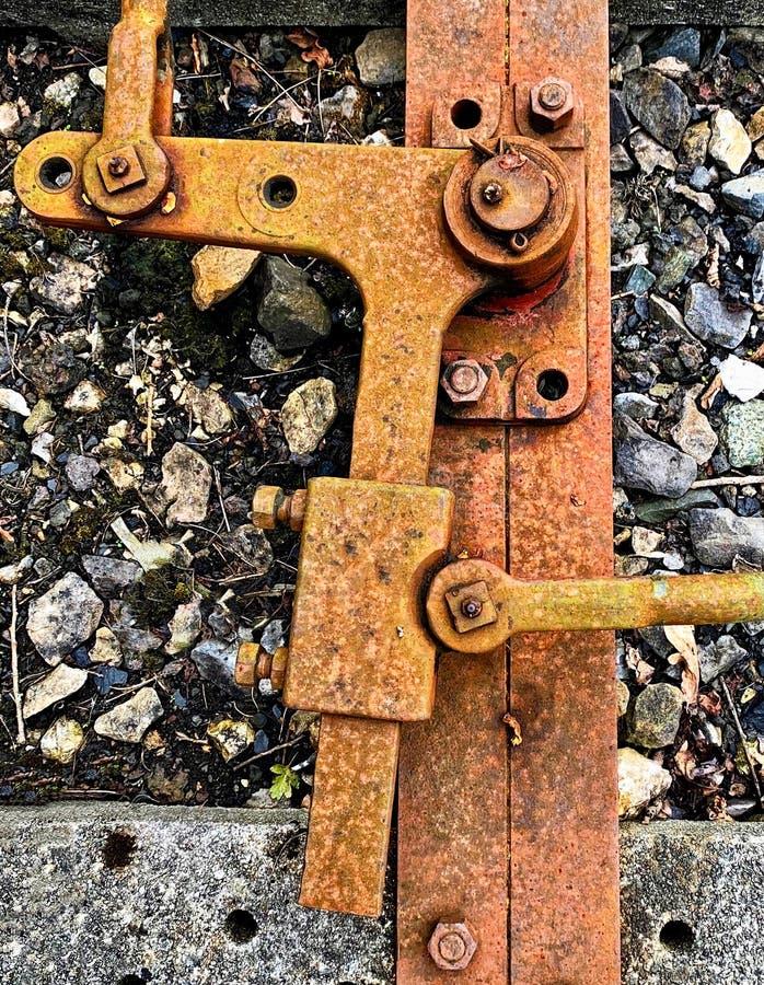 生锈的铁路点杠杆 库存图片