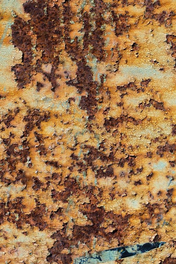 生锈的铁,老金属表面上的破裂的油漆纹理, 图库摄影