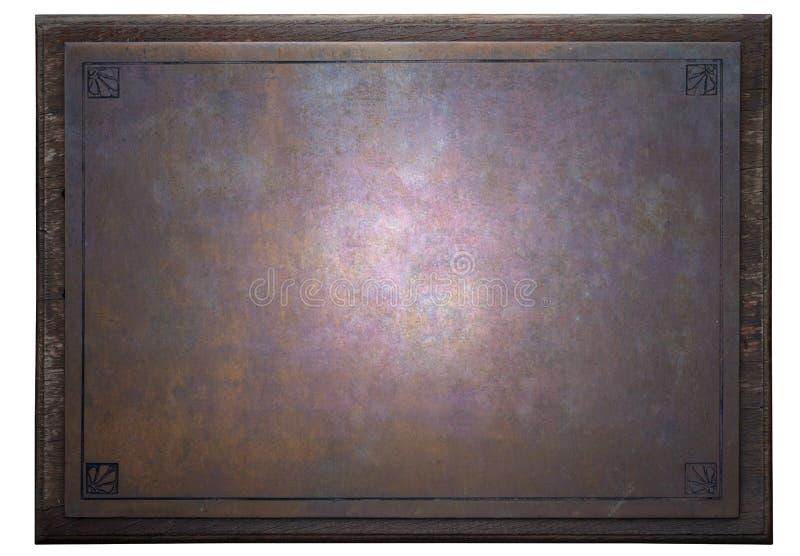 生锈金属片在木制框架 库存图片