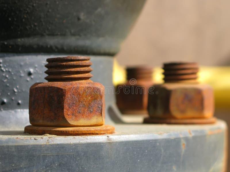 生锈金属的螺母 库存照片