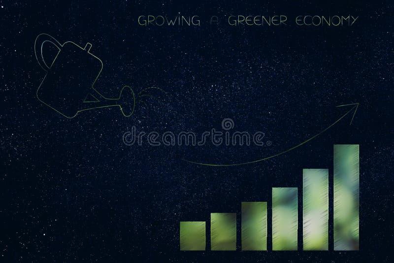 生长与图表酒吧的喷壶更加绿色的经济 向量例证