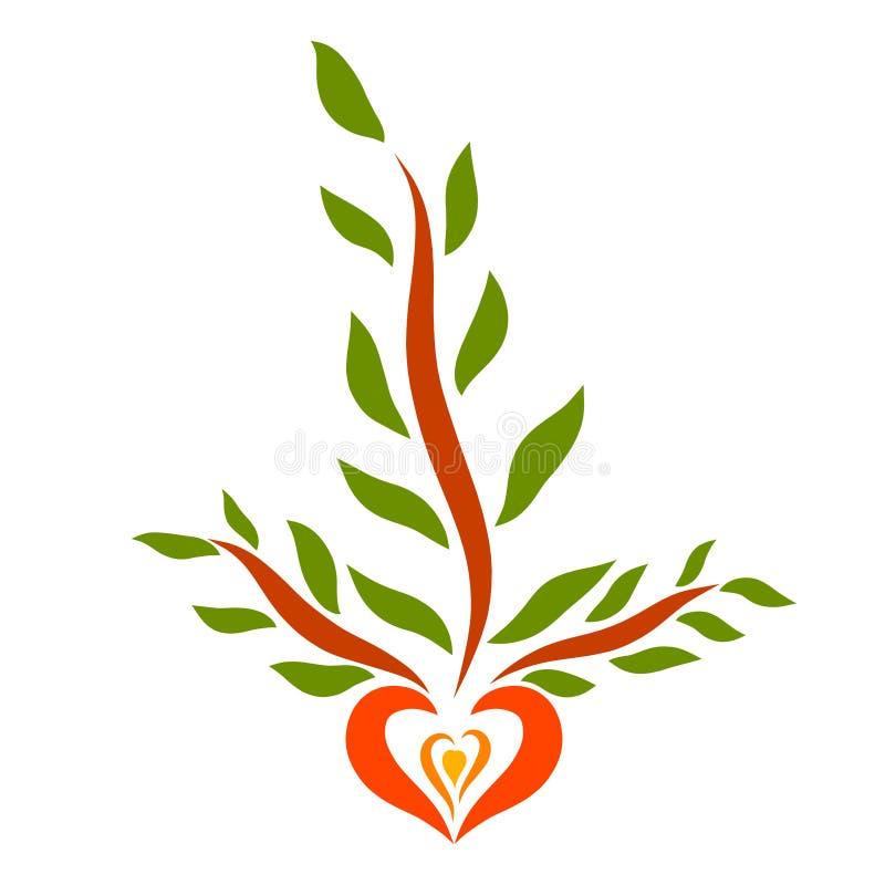 生长从一颗种子的三个分支以心脏的形式 向量例证