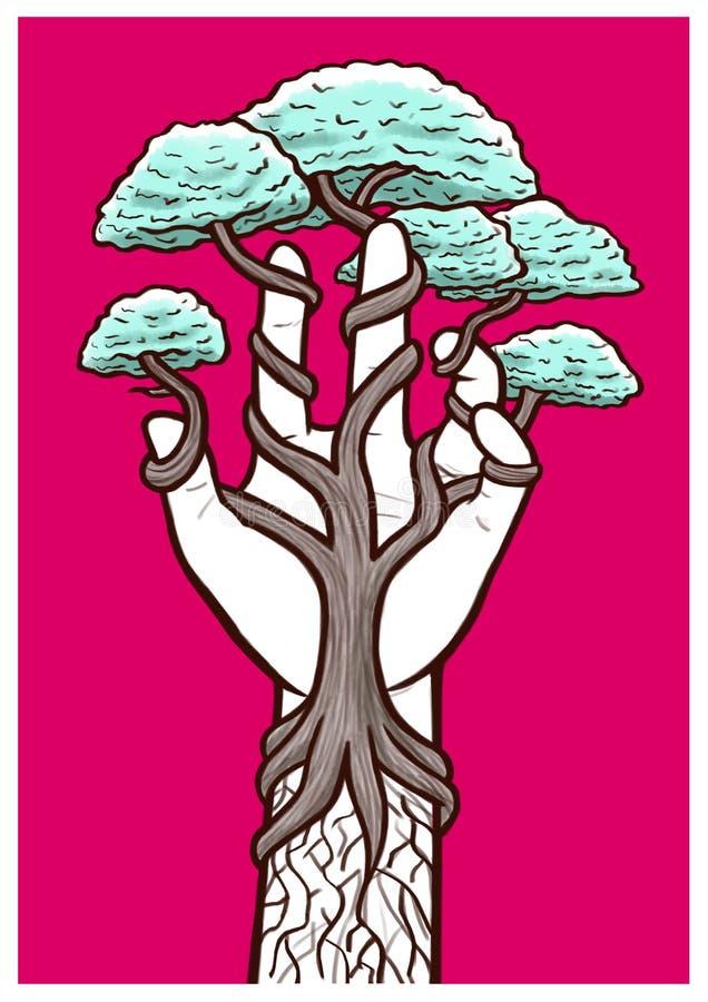 """生长在自然和人类手â€内的树""""隔行扫描  向量例证"""