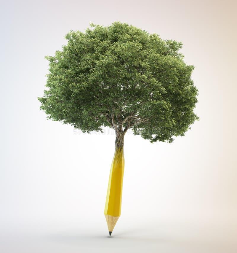 生长在铅笔外面的树 免版税库存图片