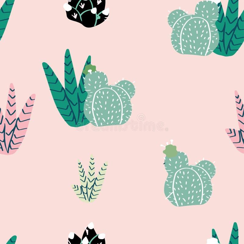 生长在florariums的多汁植物、仙人掌和其他植物 皇族释放例证