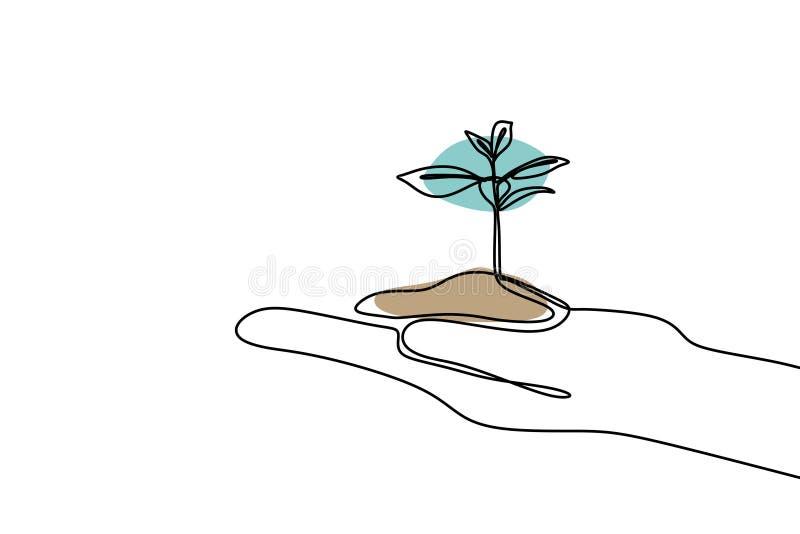 生长实线的植物得出一个手拉的最低纲领派设计 向量例证