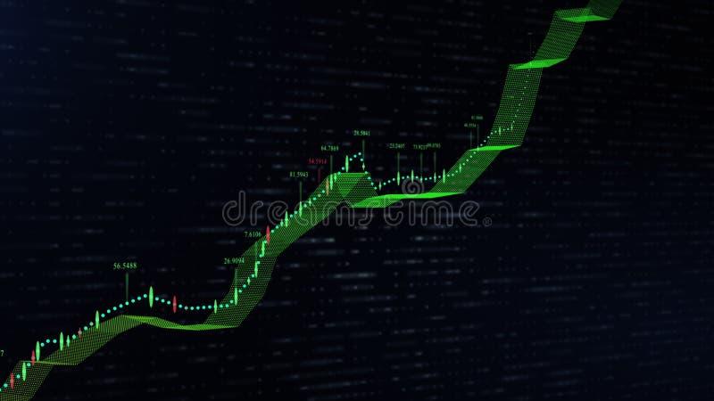 生长曲线图表在丝带形状改变的颜色的 皇族释放例证