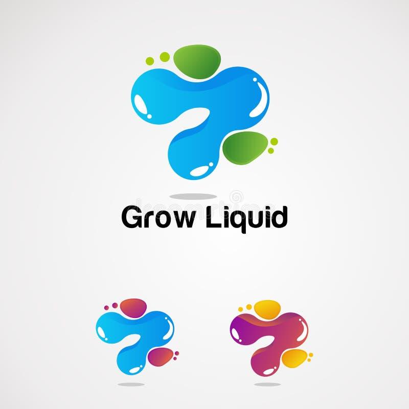 生长液体集合传染媒介、象、元素和模板公司的 向量例证