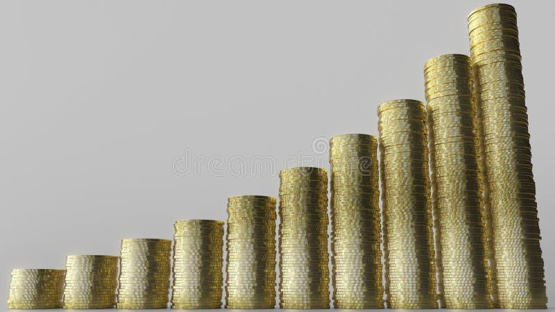生长长条图由硬币堆做成 企业成功或生长储款概念性3D翻译 图库摄影