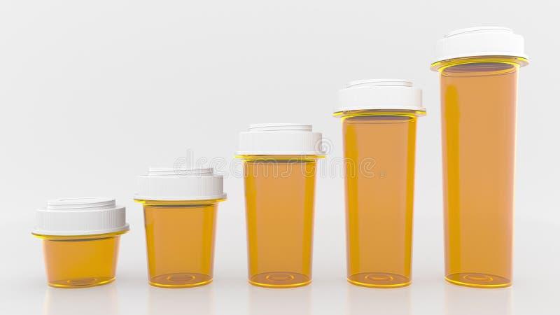 生长长条图由药瓶制成 增长的医疗费用或配药生产概念性3D翻译 向量例证