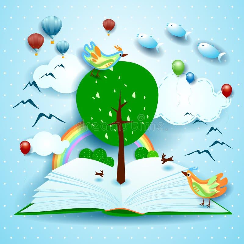 生长,与超现实的风景的开放书 向量例证