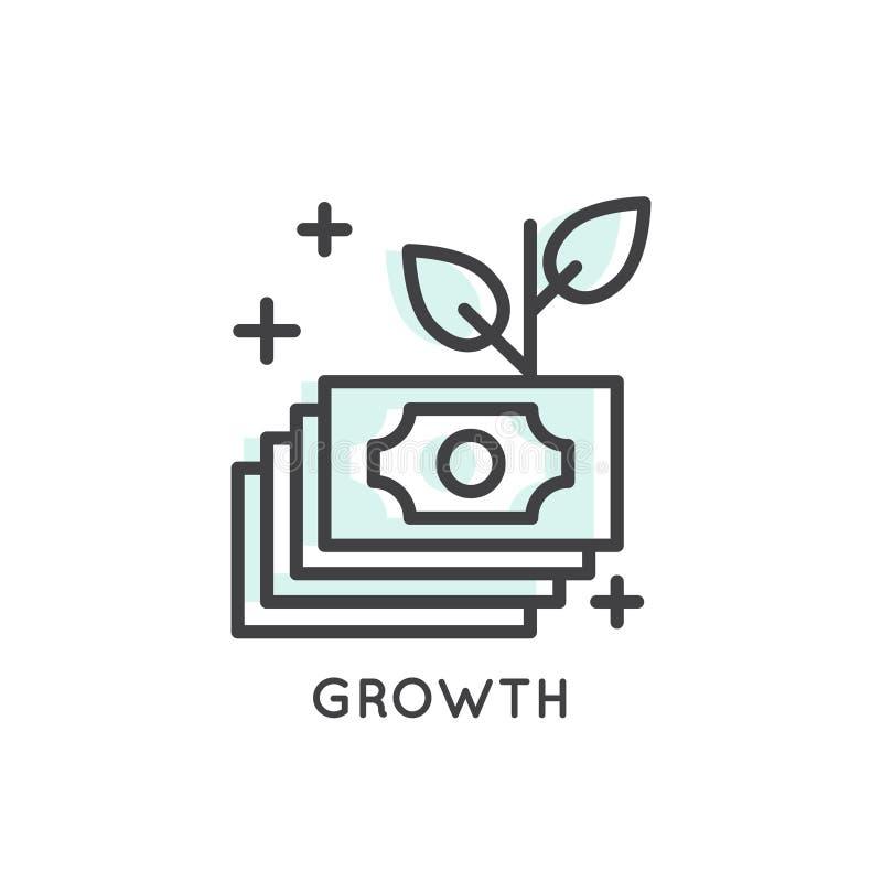 生长从与三片叶子的种子的树;开始;新的想法;成长 皇族释放例证