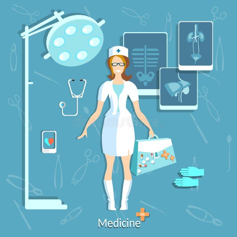 医生医学学生美丽的护士 向量例证
