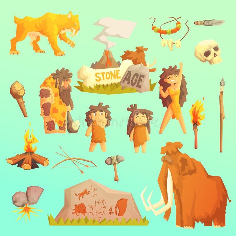 生活石器时期原始人 冰河时期 皇族释放例证