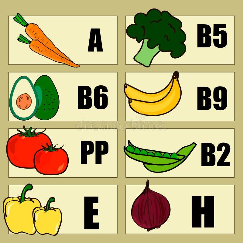 维生素食物来源和作用,食物象,健康吃和医疗保健概念, infographica 向量例证