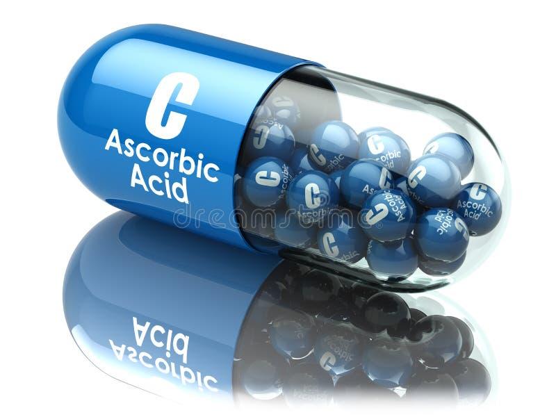 维生素C胶囊或药片 抗坏血酸 饮食补充条款 库存例证