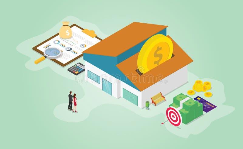 用一些货币计算器和有等长现代平面风格的房屋 — 向量来准备按揭储蓄的财务准备 皇族释放例证