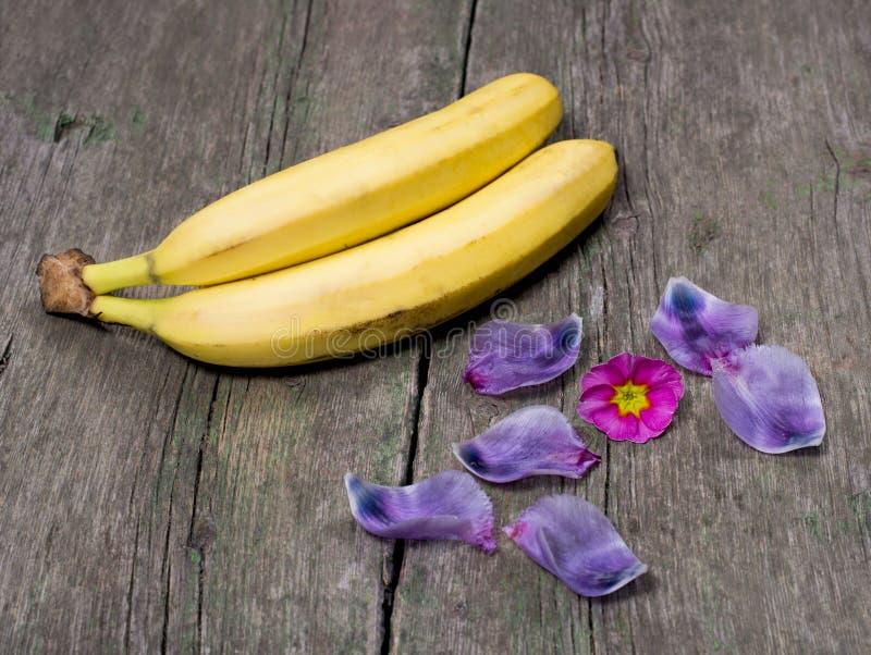 用一朵桃红色花和丁香瓣装饰的两个香蕉 免版税库存图片