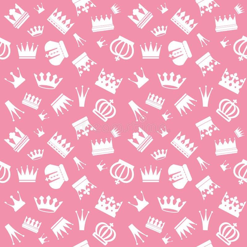用不同的冠的逗人喜爱的无缝的样式在粉红彩笔 娘儿们 库存例证