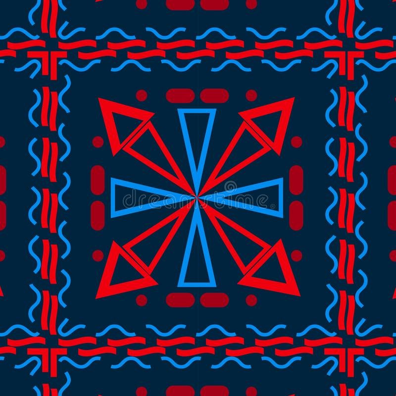 用不同的几何形状的无缝的背景,蓝色与红色,细胞 向量例证