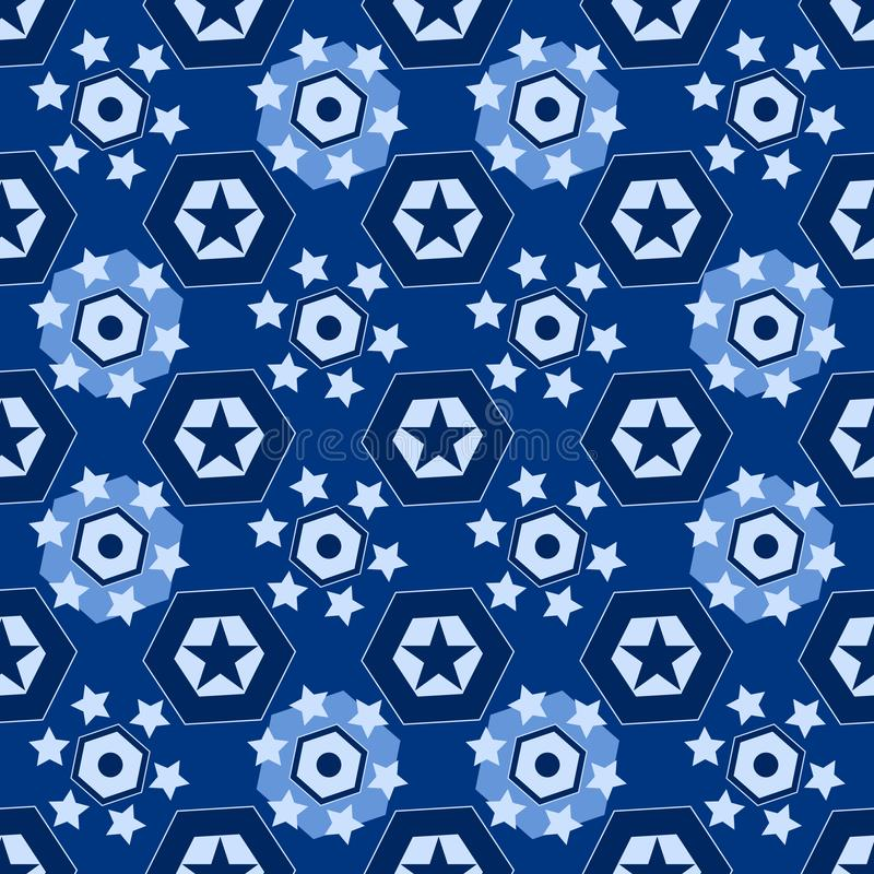 用不同的几何星的无缝的背景 库存例证