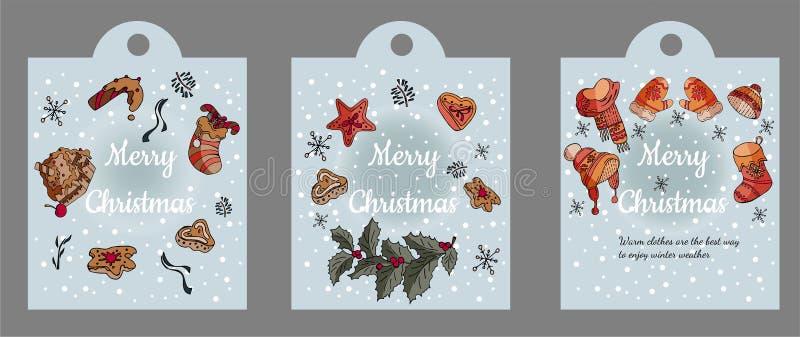 用不同的圣诞节和冬天元素的美丽的贺卡 库存例证