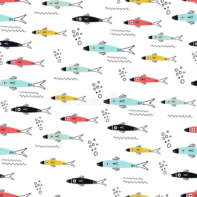 用不同的多彩多姿的鱼的水下的无缝的样式 库存例证