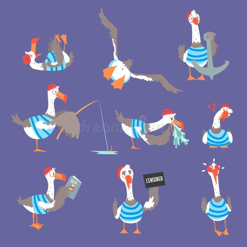 用不同的姿势和情感的动画片海鸥设置了,逗人喜爱的可笑的鸟字符 库存例证