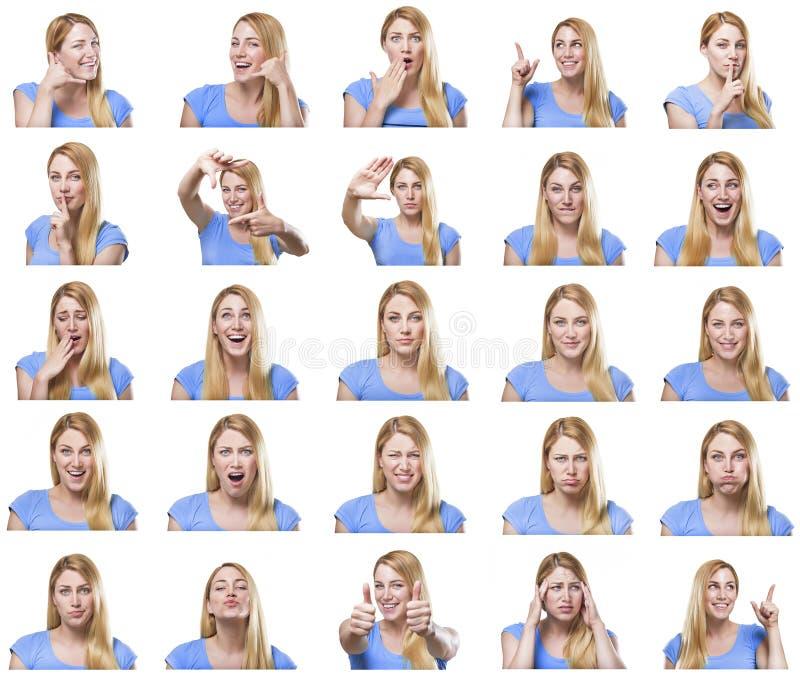 用不同的姿态和情感的可爱的妇女 免版税库存图片