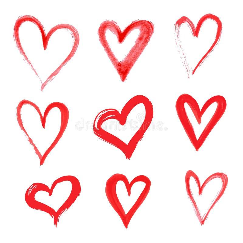 用不同的工具的手拉的传染媒介心脏集合象刷子 皇族释放例证