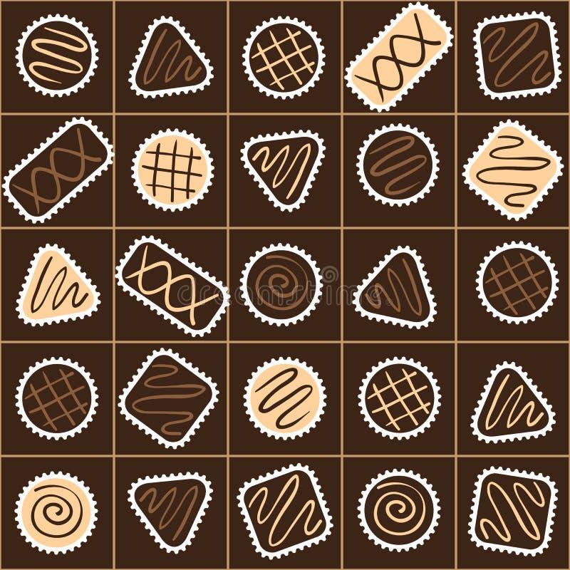 用不同的巧克力糖的无缝的样式在箱子 皇族释放例证